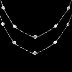 14K White Gold Created Diamonds by Yard Necklace